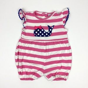 Smocked or Not Pink Navy Whale Bubble Romper 6M